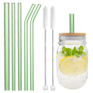 Drinking Straws Colorful Reusable Glass Wide Straw Boba Fat Smoothie Bubble Tea Milkshakes With 2 Cleaning Brush