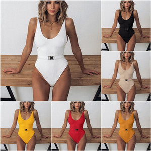 2020 Woman One Piece Swimming Suit Solid Color Bikini With Belt Backless Beach Swimsuits Muti Colors