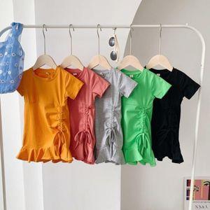 kids clothes girls solid color dress Korean version children Princess Dresses 2021 summer fashion baby Clothing Z2493