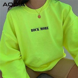 AQOIA HARAJUKU O-Neck Langarm Lose Brief Fluoreszierende Grüne Sweatshirt Frauen Herbst Winter Dicke Pullover Kleidung LJ201130