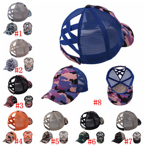 Camouflage Ponytail Baseball Caps Criss Cross Washed Ball Caps Fashion Camouflage High Messy Party Hats Supply 8styles RRA4140