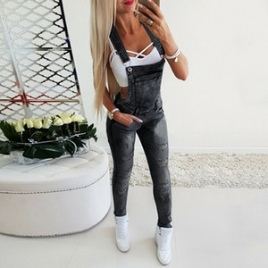 New 022101 Fashion Ladies Ripped Jeans Jumpsuits Lmitation Old Jeans Bib Overalls Ladies Suspenders Denim Trousers Jeans Overall S-3XL