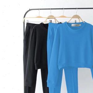Autumn Tracksuit Long Sleeve Solid Sweatshirts Vintage Women Clothing 2 Piece Set Crop Tops Pants Sporting Suit Female