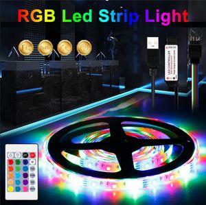 RGB الصمام قطاع ضوء dc 5 فولت 1 متر / 2 متر / 3 متر / 4 متر / 5 متر ماء rgbw شرائط الصمام مصباح مرنة الشريط داخلي غرفة نوم التلفزيون الإضاءة الإضاءة