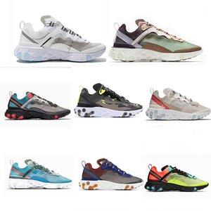 2021 Fashion Epic React Vision Élément 55 87 Mens Femmes Chaussures de course Pour femmes Photon Dépoussiéreur Triple Black Blanc Sports Sports Sports Sneakers