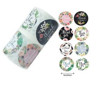 500pcs roll Round Floral Thank You Stickers for Wedding Favors and Party Handmade Adhesive Stickers Envelope Seal Stationery Sticker