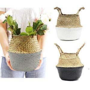 Storage Handmade Basket Foldable Planter Multifunctional Laundry Straw Patchwork Wicker Rattan Seagrass Garden Flowerpot Planter AHD5030