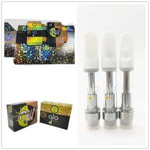 GLO Vape Cartridges Atomizers Oil Vapes Carts 0.8ml 1ml Pyrex Glass Tank 510 Ceramic Coil Vaporizer Flat Tips Cartridge Empty Atomizer E Cigarettes Pen