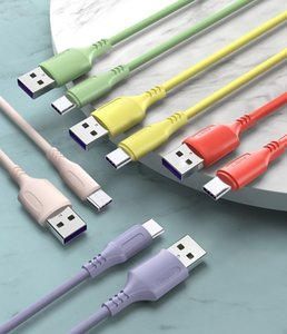 Liquid Silicone Color 5A Super Fast Charge Cables Micro USB Type C Data Cable for Samsung S20 S10 S8 S7 Note 20 LG Huawei Xiaomi Android Mobile Phone Charging Wire