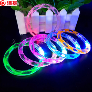 Acrílico LED Pulsera Flash Glitter Glow Light Ring Sticks Luminoso Cristal Colorido Brazalete Danza Fiesta Regalo de Navidad