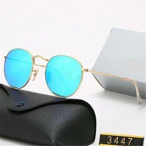 Classic Round Sunglasses de sol de diseño UV400 Gafas de oro Metal Marco de oro Gafas de sol Hombres Mujeres Espejo 3447 Lente de cristal polaroid AA