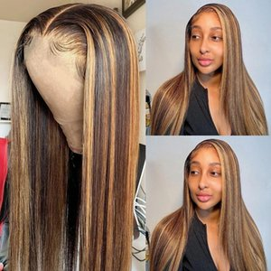 Brown Highlight 360Lace Frontal Wig Ombre Blonde Human Hair Wigs Pre Plucked for Women 180% Density Browns Colored 13x4 Lace Front Wigss