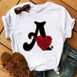 Custom Name Combination Women's High Quality Printing T-shirt Flower Letter Font a b c d e f g Short Sleeve Clothes Femal