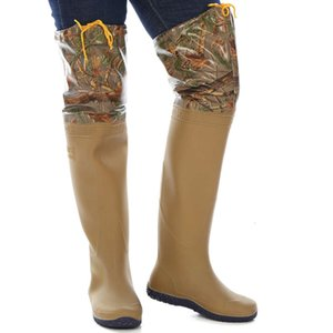 Men's and women's knee high tube rain boots soft flat bottomed paddy field rice transplanting shoes fishing wading half