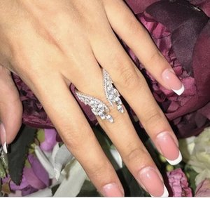 Size 5-10 Top Sell Wedding Rings Luxury Jewelry 925 Sterling Silver Rose Gold Fill Marquise Cut White Topaz CZ Diamond Eternity Women Angle Wing Band Ring Gift
