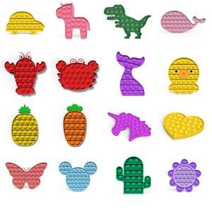Push Pop es zappeln Spielzeugautos, Tiere, Früchte Blase Sensorische Autismus Sonderbedürfnisse Ängste Stresseinlagerung für Büroangestellte Fluorescenten