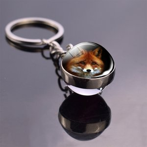 Cute Fox Animal Glass Ball Key Chain Fashion double side keyring Metal Car Keychain Purse Charm Gift for Friend