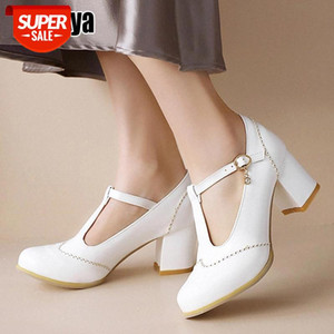 Chunky Heel Platform Mary Jane Shoes Women Round Toe T-Strap High Heels Women Pumps Black Punk Goth Shoes O326 #bx9l