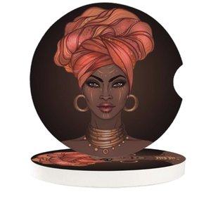 Table Runner African Headscarf Girl Earrings Car Coasters Set Heat Resistant Placemats Drink Mat Tea Coffee Cup Pad Waterproof Creative Deco