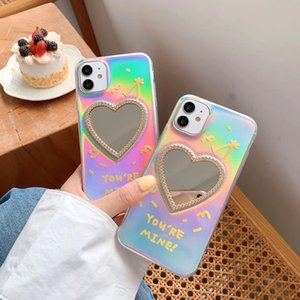 Luxury Laser Love Heart Mirror Phone Case For iPhone SE 2020 Case 11Pro MAX XS MAX XR X 7 8Plus Glitter Makeup mirror Soft Cover