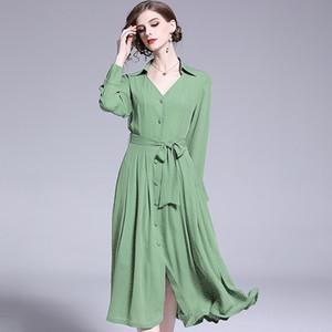 2021 New Primavera e Vero Feminino Com Decote Em v Slido Elegante Chiffon Vestido Para Senhora Moda Vestidos Verdes Meninas Robe Cpuz