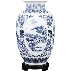 Jingdezhen Ceramic Vase Retro-ancient Landscape Dumb Blue and White Porcelain Flower Arrangement Small Dry Flower Vase Porcelain