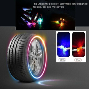 2pcs LED bicycle car wheel lights flash tire spoke lights waterproof automatically Air Valve Stem Cap Cover Accessories Top