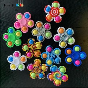 Fidget Decompression Toy Push Simple Dimple Fidgets Toys Plus 5 Sides Play Game Anti Stress Spinner Colorful DHL tiktok HY06