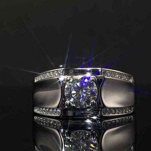 Rings 925 Sterling Silver Moissanite Ring for Men 1.0ct 2.0ct 3.0ct Pave Set Brilliant Men's