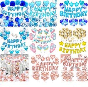 Pembe Mavi Lateks Balonlar Set Parti Ile Confetti Çocuklar Folyo Mektup Balonlar Mutlu Doğum Günü Pastel Renk Balonlar Düğün Dekorasyon