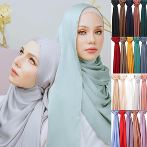 Luxury Designer Satin Chiffon Hijab Scarf Women Muslim Fashion Crinkle Shawl Big Size Wrinkle Women's Scarves Turban Bandana 1pc
