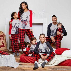 Christmas Xmas Família Correspondente Conjunto de Pijamas Sleepwear Nightwear Crianças Adult Deer Cervo Pijamas