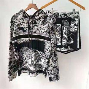 Женщины трексуиты с буквами шаблон напечатанные футболки шорты две части наборы для леди для леди Sports Sportsuit Terry Hoodie и длинные брюки размер S-L