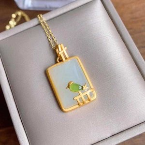 Designer Necklace Silver Inlaid Natural Hetian White Jade Sparrow Pendant Retro Palace Style Adorable Charm Women's Brand Jewelry