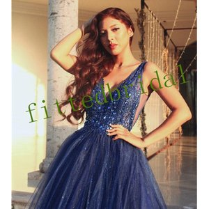 Shinning Sexy Prom Dresses Sequins Beading Deep V Neck Evening Wear Tulle Backless Party Gowns