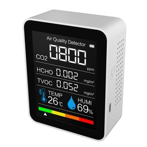 Gas Analyzers Portable CO2 Meter Digital Temperature Humidity Sensor Tester Air Quality Monitor Carbon Dioxide TVOC Formaldehyde HCHO Detect