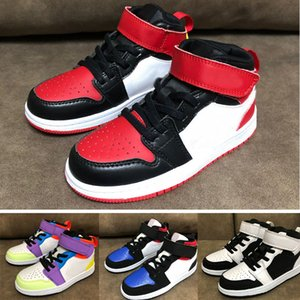 2021 Classic 1 Chicago Red Mid Magic Button shoes Children Boy Girl Kid youth Basketball sports shoes skate sneaker size EUR24-35
