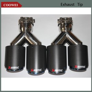 Akrapovic 1 Pair Exhaust Tips Car Universal Matt Carbon Fiber Blue Stainless Double Exit Exhaust Pipes Muffler
