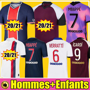 Paris saint germain PSG Футбольные майки  20/21 MBAPPE KITS JR Paris ICARDI CAVANI Survetement Kids Football Shirt 2020 2021 Детские комплекты Soccer Jerseys