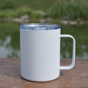 12oz Sublimation White Blank Handle Cups With Lid Handgrip Mugs Stainless Steel Water Bottles Double Wall Drinking Tumblers A12