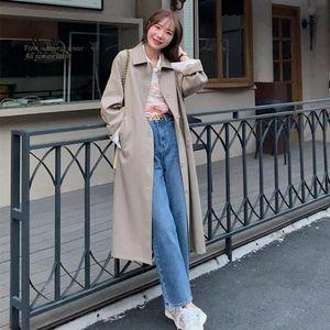 Women's Trench Coats Women Korean Winter Long Overcoat Outwear Loose Full Sleeve Single Breasted Femme Elegant Coat