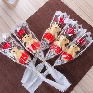 Красное фиолетовое мыло милый мультфильм розовый голубой медведь многоразовый день валентина романтический подарок вечеринка вечеринка праздничная атмосфера одеваются