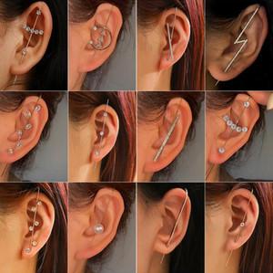 Shiny Zircon butterfly Star Letter Earrings for Women Long Slash Piercing Ear Needles Surround Ear Wrap Crawler Hook Slash Stud Earings