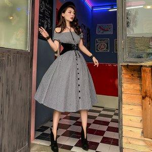Le Palais Vintage 2021 Origonal черный плед от плеча пузырь длинные + корсет части среднего теленка вспомогательное платье вечеринка 7wxx