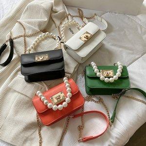 luxury children Pearl chain square handbag lady style big kids metal buckles one shoulder bag women mini lipstick bags A7922