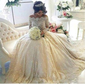 Luxurious Full Lace A Line Wedding Dresses Long Sleeves Pearls Beaded Illusion Appliques Puffy Off Shoulder Bridal Gowns Robes De Mariee