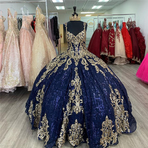 2021 Glitter Navy Blue and Gold Embellished Ball Gown Pageant Prom Dresses Keyhole Back Corset Blingling Quinceanera Sweet 15 Dress Cheap