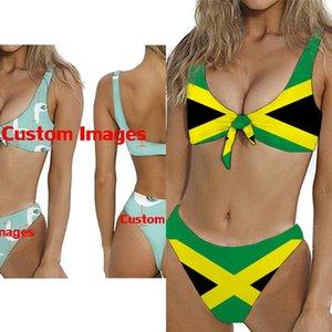Hycool 2020 Bogenknoten Stil Badeanzüge Jamaikaner Gedruckt Frauen Gepolsterte Zweisteine Bikinis Set Weibliche Schwimmen Push Up Anzug Biquini L0223
