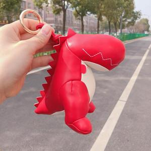 Dinosaur Keychain Key Ring 3 Colors Fashion Cotton Stuffing Cartoon Pu Key Chain Animal Car Bag Pendant Keyring Accessories