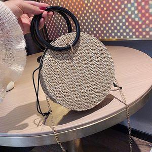 Women's Round Bag, Shoulder STRAW Stitch Cross BEACH Handbag, Handkerchief, Straw Bohemian Handmade 2021 Cglet